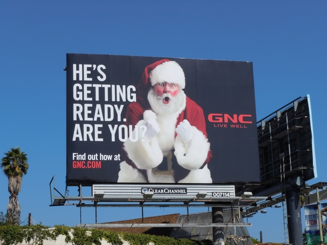 GNC Santa billboard