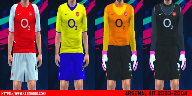 Arsenal Classic Kit Season 2003/2004 PES PSP For Emulator PPSSPP
