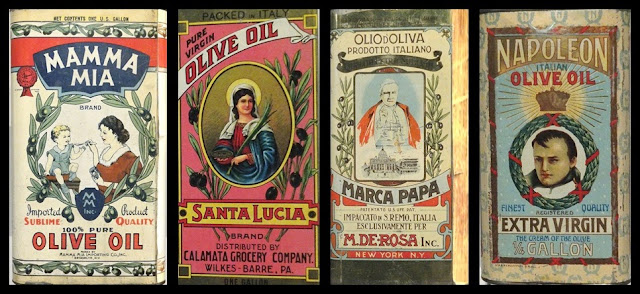 Museum of the Olive displays of early private label olive oil containers