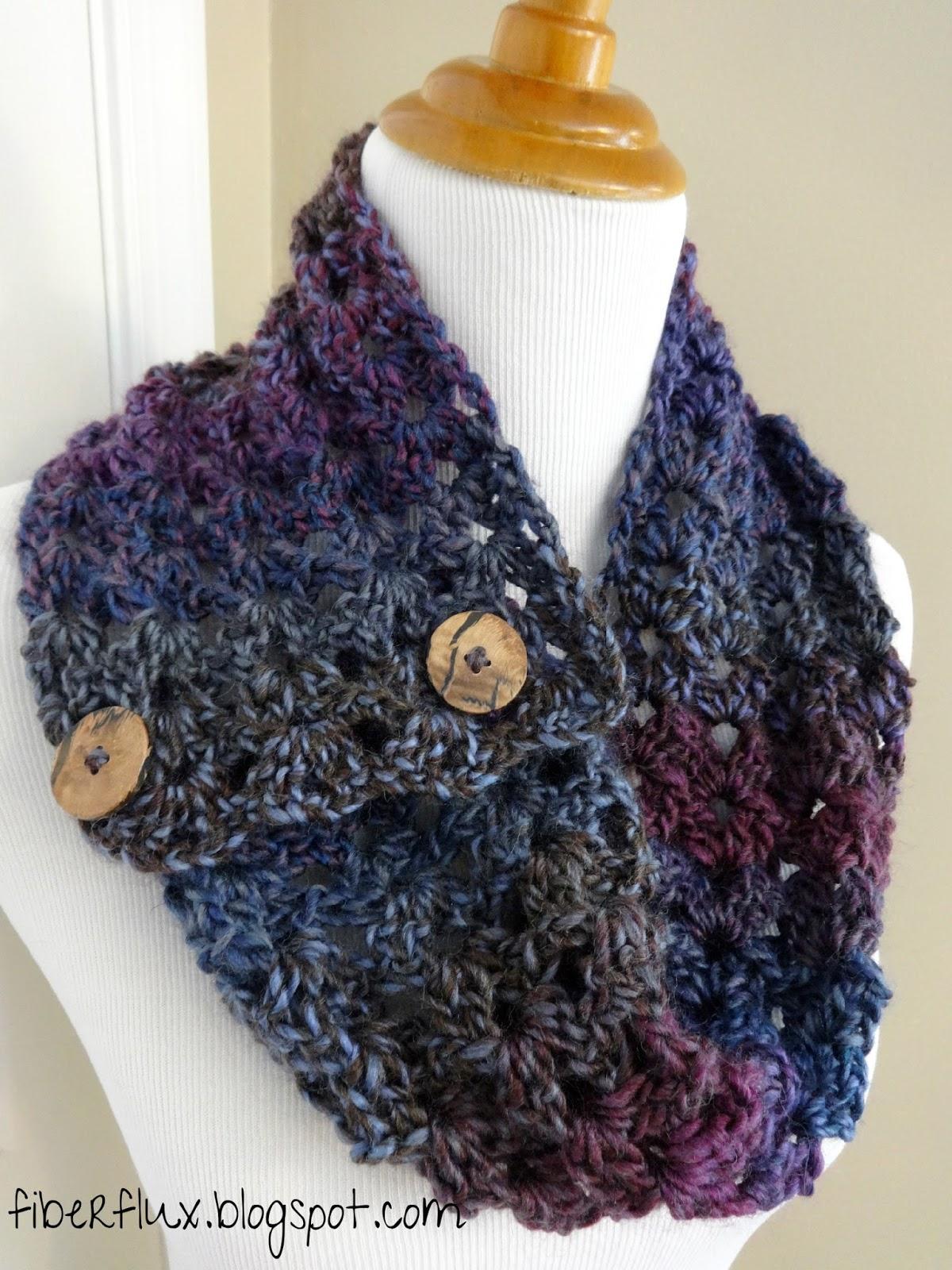 Fiber Flux Free Crochet Pattern Estelle Button Cowl