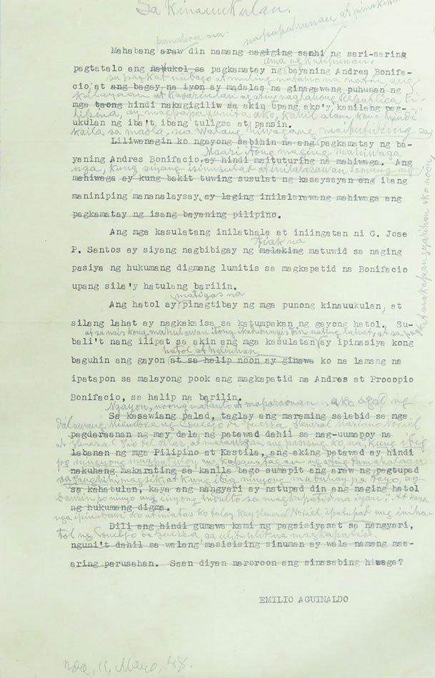 Aguinaldo's 'confession' letters about Bonifacio execution