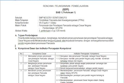 Download RPP PKN Kelas 7 Kurikulum 2013 Revisi 2017