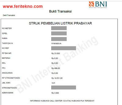 beli token listrik via internet banking bni 5