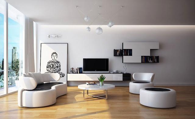 Nội thất phòng khách hình tròn