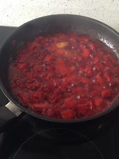 Compota de fresas al final