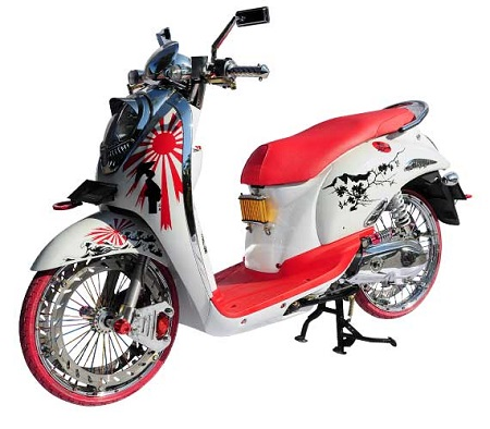 Modifikasi Honda scoopy warna biru