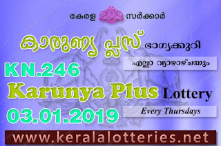 Kerala Lottery Results: 03-01-2019 Karunya Plus KN-246 Lottery Result