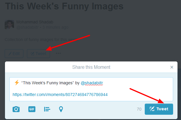 how to share twitter moment