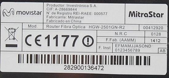 Etiqueta trasera de router de fibra Mitrastar de Movistar