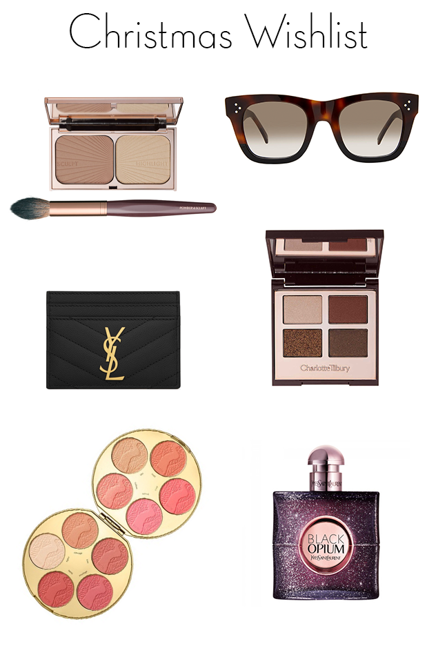 christmas wishlist, charlotte tilbury bronze and glow, celine small audrey sunglasses, saint laurent card holder, charlotte tilbury the dolce vita palette, tarte amazonian clay blush, saint laurent black opium perfume