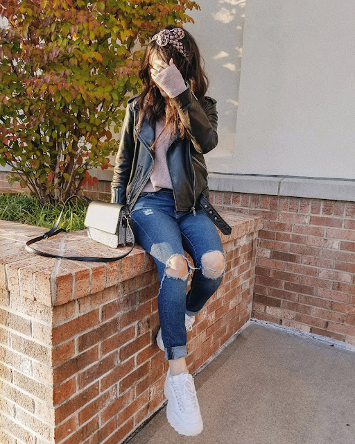 allsaints balfern leather jacket, sincerely scunci headband, fila disruptor II sneakers