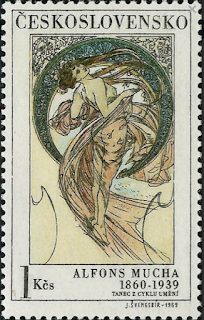 Mucha on stamp