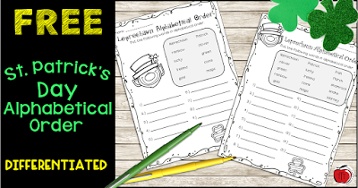 free st. patrick's day alphabetical order worksheets terri's teaching treasures