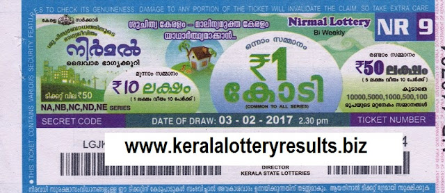 Kerala lottery result official copy of Nirmal (NR-16) on 05 May 2017