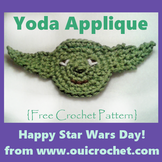 Crochet, Free Crochet Pattern, Crochet Applique, Star Wars, Star Wars Applique, Star Wars Crochet, Yoda, Crochet Yoda, Yoda Applique,