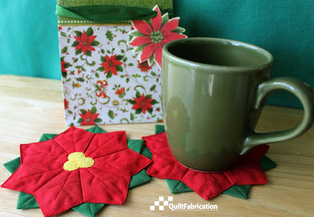 Dresden plate Poinsettia Coaster and cup
