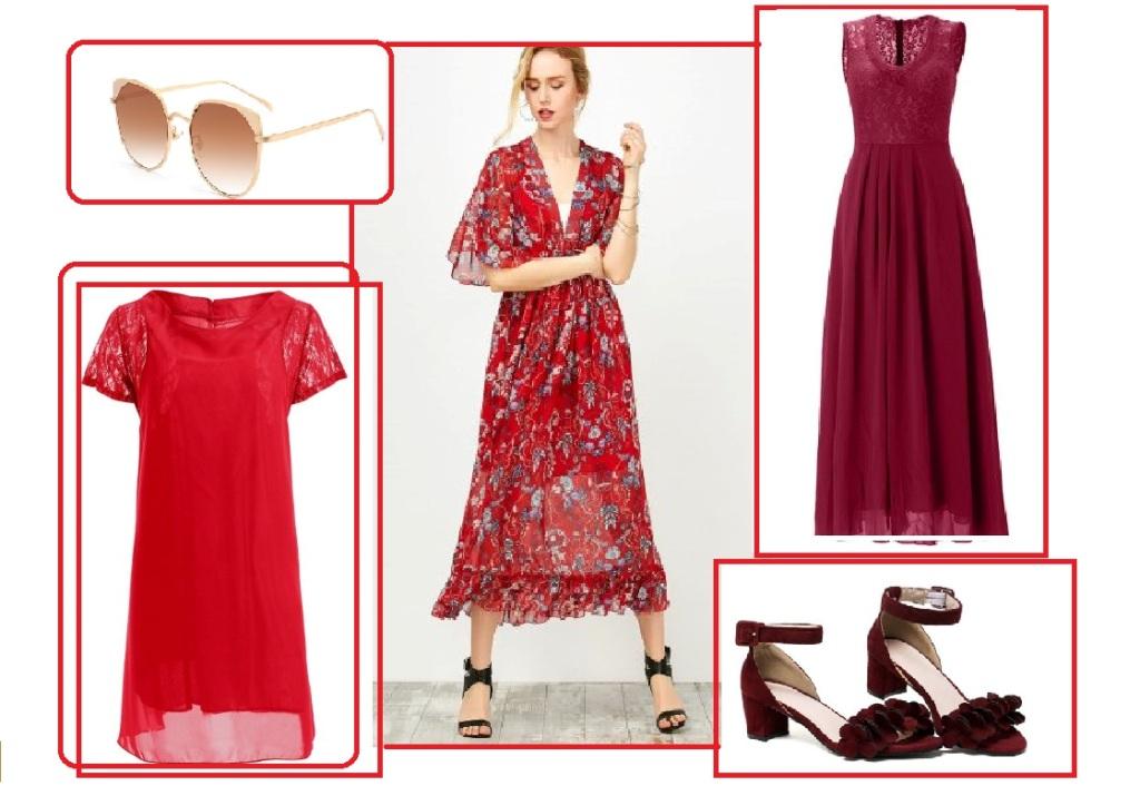 Красное платье в цветочек