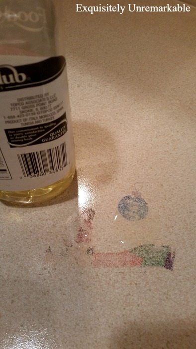 Using Olive Oil To Remove Ink on countertop