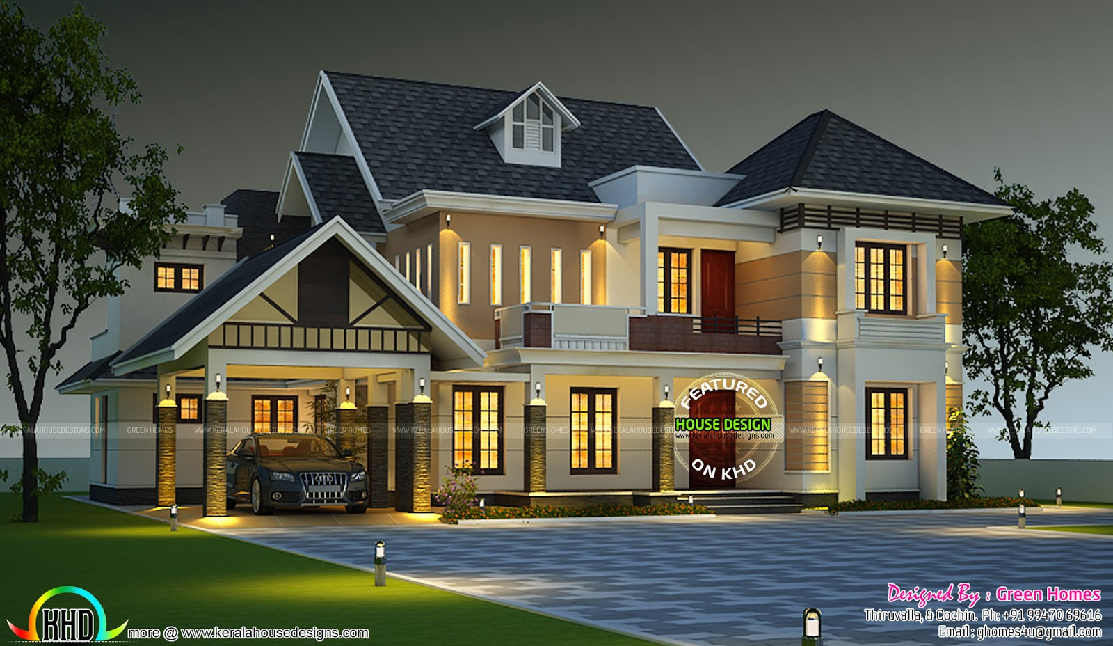 Elegant dormer window house plan kerala home design and for Elegant home designs