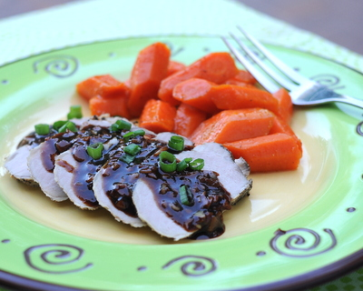 Hoisin & Honey Pork Tenderloin with Butter-Simmered Carrots, an easy weeknight supper. Don't miss out on the carrots!