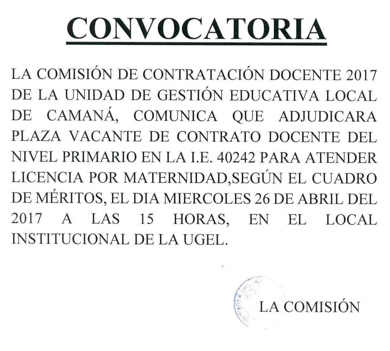 Ugel caman for Convocatoria de plazas docentes 2017
