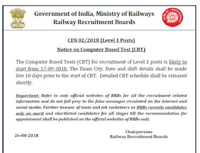 RRB Group D Exam date announced and Admit Card 2018 - Know details