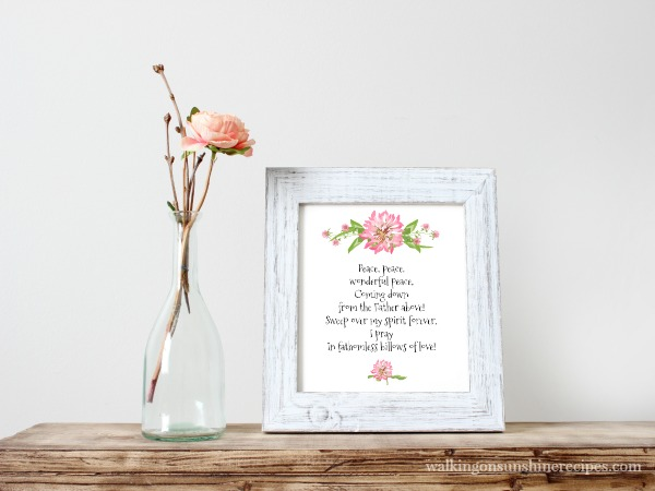 Free printable available from Walking on Sunshine of the old hymn, Peace, Peace, Wonderful Peace.