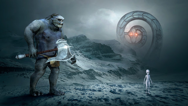A giant ogre with an axe, a giant serpent and an alien in an arctic landscape.