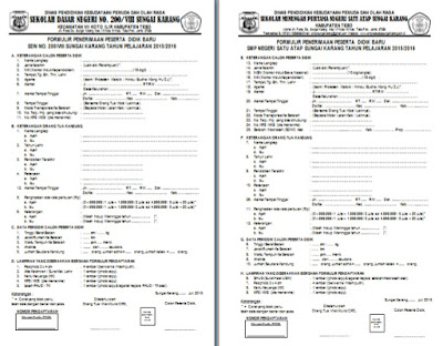 Contoh Format Formulir Pendaftaran Siswa Baru Psb Ppdb Sd Smp