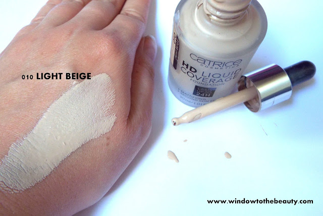 Hd Liquid Coverage Foundation 010 light beige swatches
