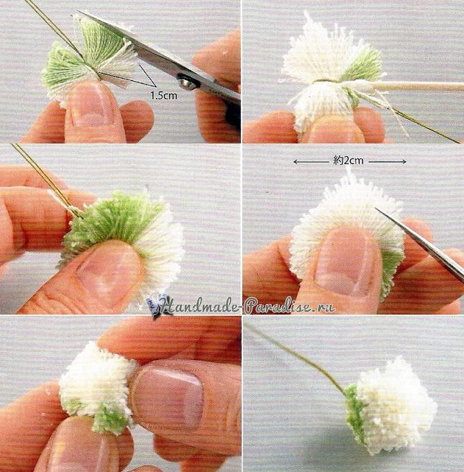 Цветок клевера из помпона (1)
