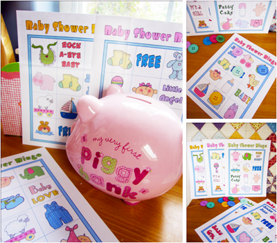 Free Printable Baby Shower Bingo in Colors.