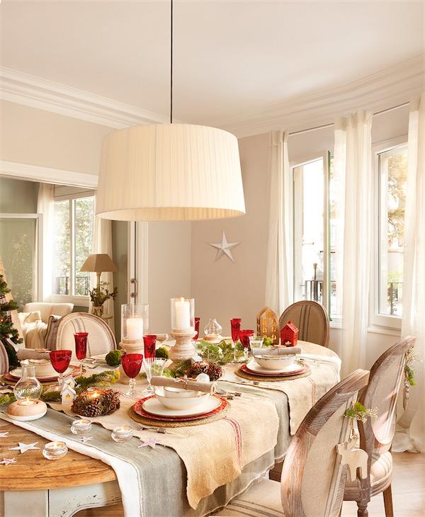 mesa de Navidad rústica y en rojo chicanddeco