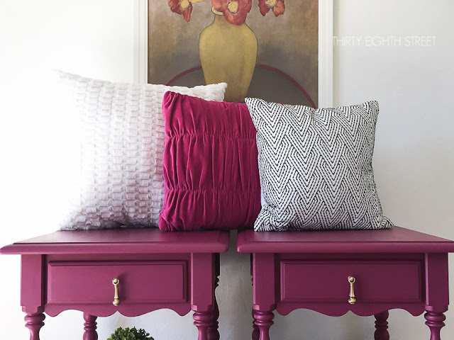 painted nightstand ideas, hand painted nightstands, plum nightstands, pink furniture, plum furniture, diy nightstand makeover, nightstand makeover ideas