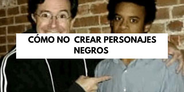 Título del artículo con un hombre blanco abrazando a un hombre negro y señalándolo