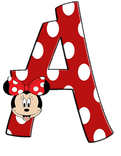 Abecedario de Minnie sobre Letra Roja con Lunares Blancos. Polka Dots in Red Alphabet with Minnie Face.