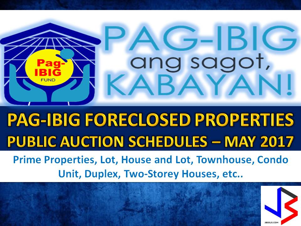 Hundreds of acquired assets of properties of Pag-IBIG Fund will be auctioned this May 2017. Six Pag-IBIG branches nationwide will be participating in the public auctions. These includes National Capital Region, Cebu, Davao, Zamboanga, Pagadian City, and Tuguegarao.   If you are looking for properties to buy such as lot, house and lot, townhouse, duplex, Quadro-duplex, row houses, and many others, this is your opportunity to own.  Disclaimer: Thoughtskoto is not affiliated nor are we selling any property. All the information had been verified through Pag-Ibig website. We encourage you to transact only with Pag-Ibig authorized agent in their office when participating in auction.