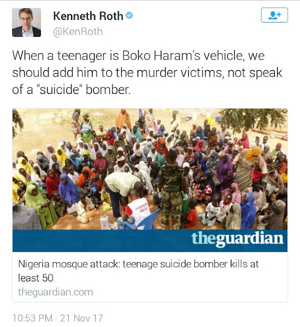 Teenager who killed 50 at mosque in Adamawa is a victim not a suicide bomber - Executive Director, Human Rights Watch