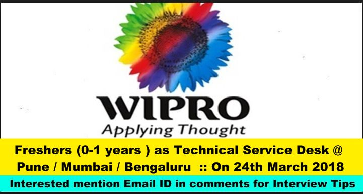 Wipro Hiring Freshers 0 1 Years As Technical Service Desk Pune Mumbai Bengaluru On 24th March 2018