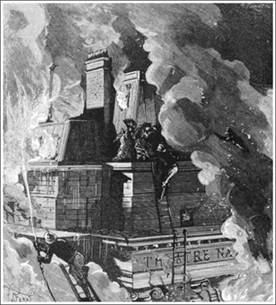 La Casa dels Enganys dels Sentits - Incendi de la Salla Favart (La Nature, 18/06/1887)