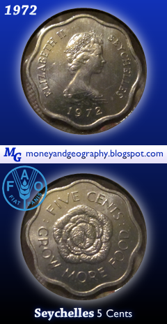 1972 Seychelles 5 Cents - an FAO coin that is scalloped