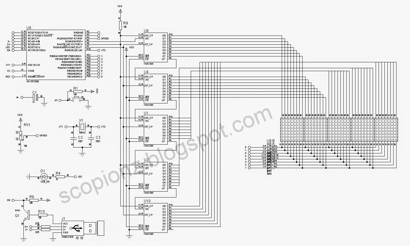 usb controlled 8x40 dot matrix moving display circuit circuit diagram [ 1397 x 837 Pixel ]
