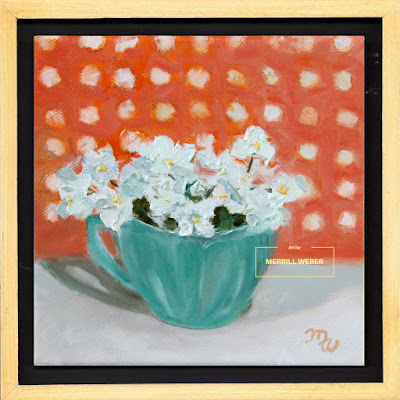 Oil painting of tiny white flowers, sitting cozily in a turquoise teacup against a background of polka dots