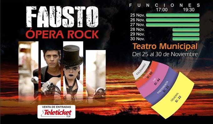 Fausto Ópera Rock, del 25 al 30 de noviembre