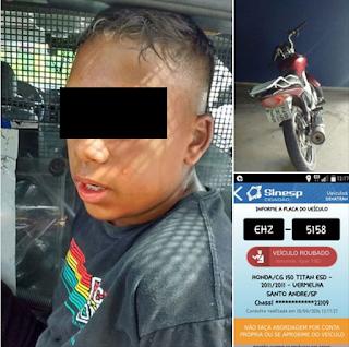 Menor tentou dar fuga da ROMU com moto roubada mas acabou apreendido no interior da favela Sítio dos Vianas em Santo André