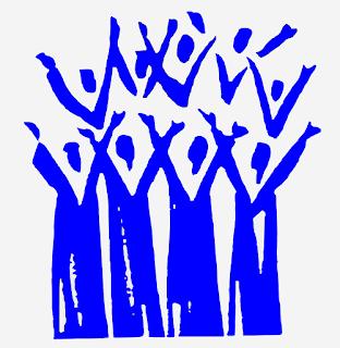 Illustrasjon: Stilisert bilde av et kor. En gruppe blå siluetter som strekker armene i været.