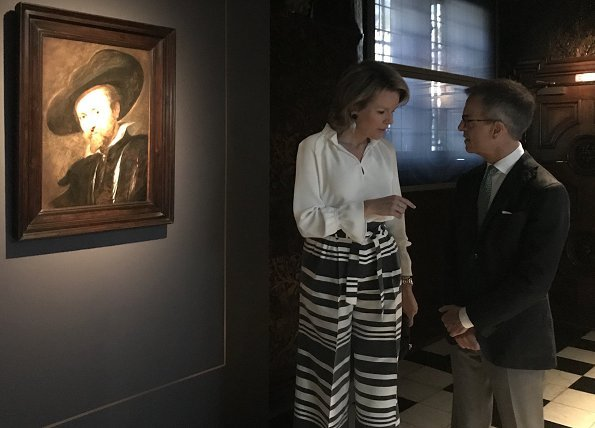Queen Mathilde of Belgium visited 'Rubens: The Master Lives' exhibition held at the Peter Paul Rubens House in the Antwerp M HKA museum