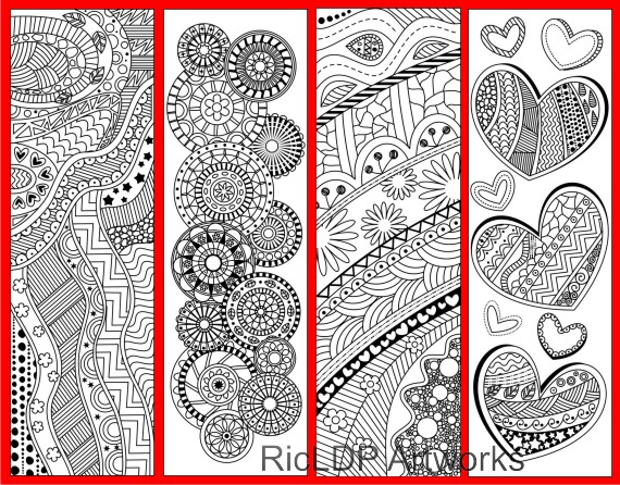printable coloring bookmarks with abstract design
