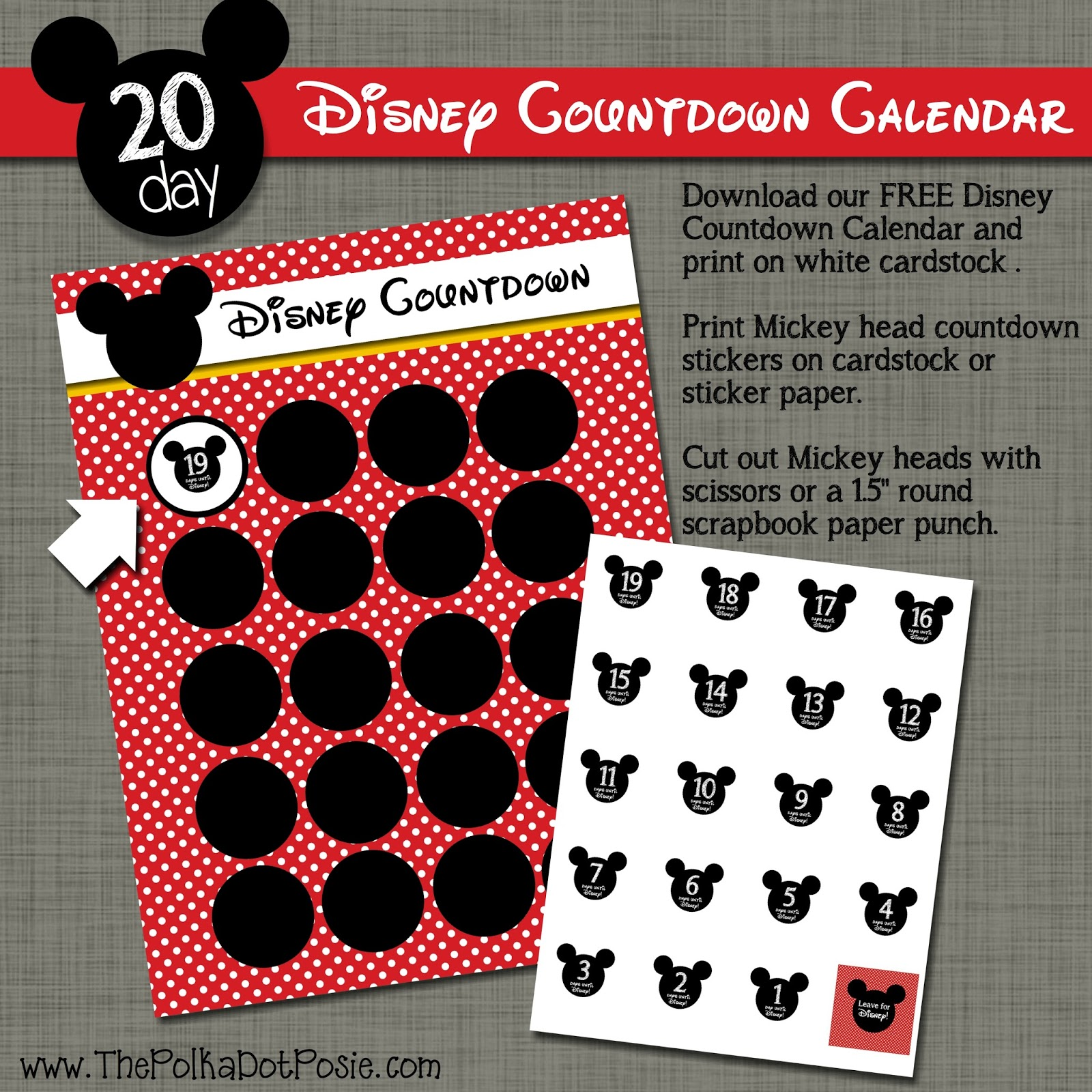picture relating to Disney Countdown Calendar Printable named The Polka Dot Posie: Totally free Disney Countdown Sticker Calendar