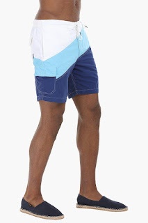 5aa59c5e12 Don't choose monotonous plain shorts for pool parties. This year plays with  colors by selecting color block style boardshorts. The fancy swimwear  features 2 ...